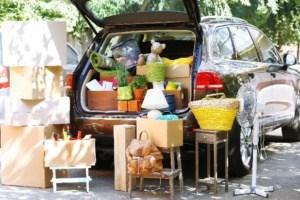 car trunk full of household items